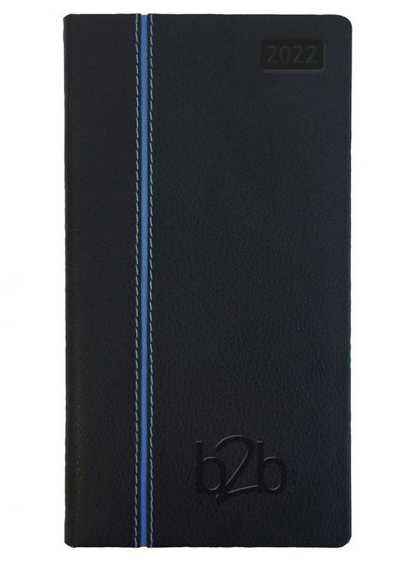 Allegro Pocket Diary - Week to View Diary - White Pages - Black-Blue, 2022