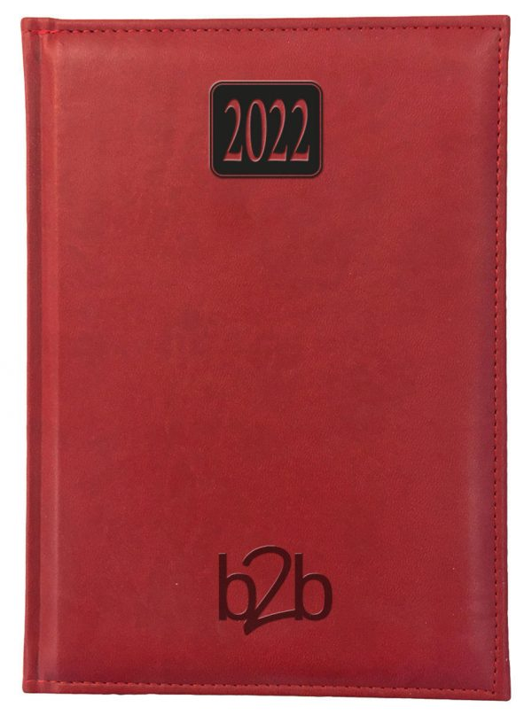 Rio A5 Diary - Page A Day Diary - Cream Pages - Red, 2022