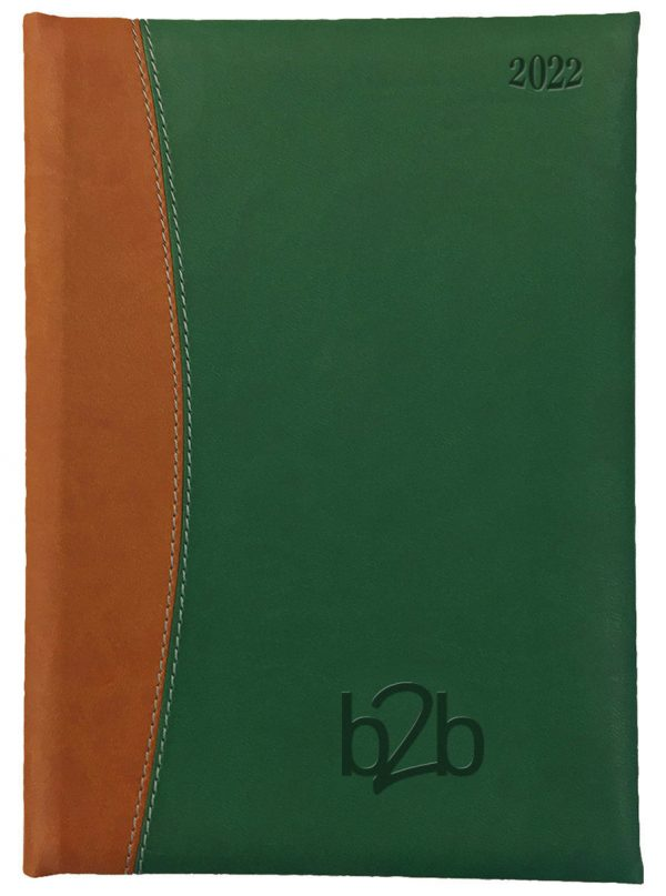 Sorrento A5 Diary - Page A Day Diary - Cream Pages - Green-Tan, 2022