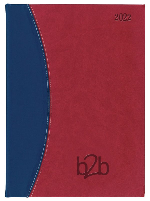 Sorrento A5 Diary - Page A Day Diary - Cream Pages - Red-Blue, 2022
