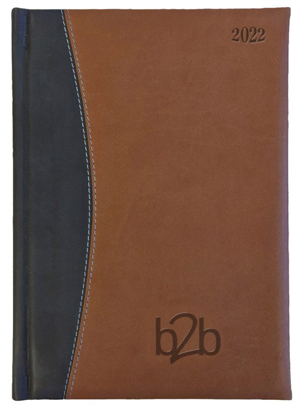 Sorrento A5 Diary - Page A Day Diary - Cream Pages - Tan-Black, 2022