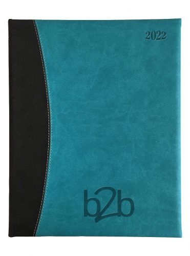 Sorrento Management Desk Diary - Week to View Diary - White Pages - Aqua-Black, 2022