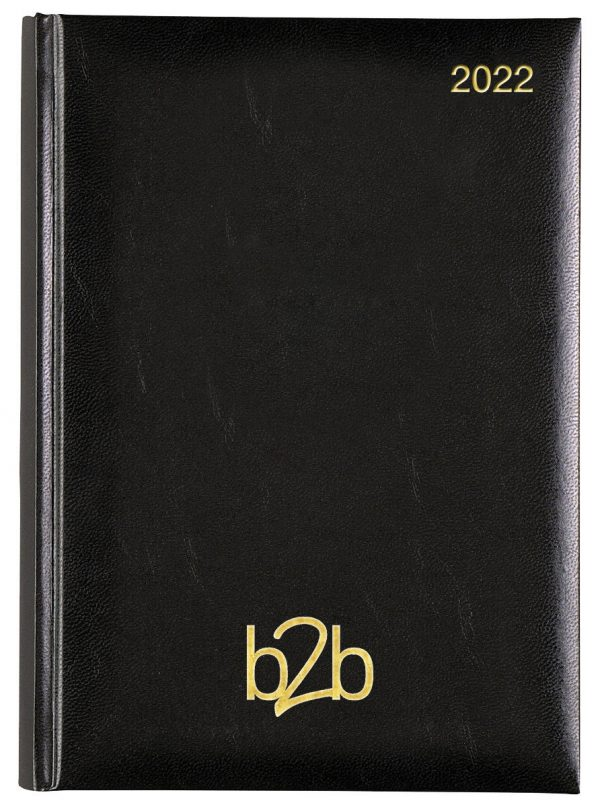 Strata A5 Page a Day Diary Cream Pages - Black, 2022