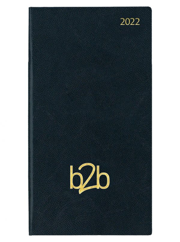 Strata Pocket Diary - Two Weeks to View Diary - White Pages - Black, 2022