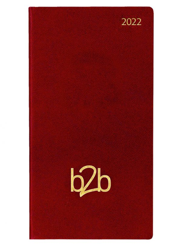 Strata Pocket Diary - Two Weeks to View Diary - White Pages - Burgundy, 2022